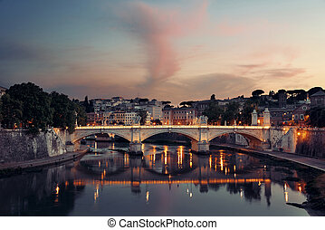 Rome River Tiber sunset - River Tiber and Rome ancient...