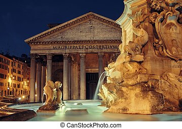 Pantheon at night with fountain. It is one of the...