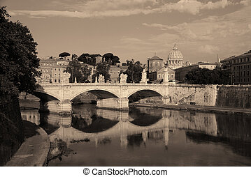 Rome River Tiber - River Tiber and St Peters Basilica in...