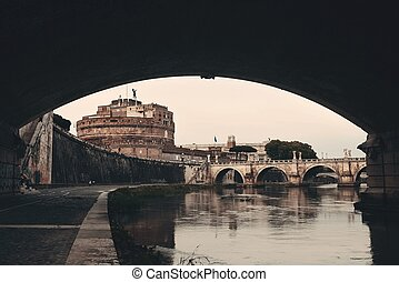 Castel Sant Angelo in Italy Rome and bridge over River Tiber...