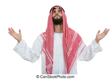 Young arab man of muslim religion praying isolated on white background
