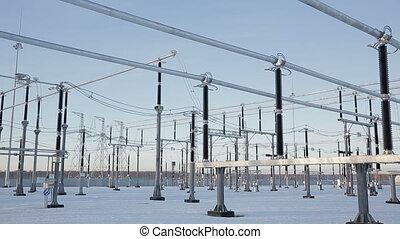 Power station, high-voltage wires winter