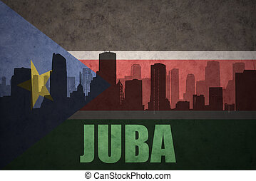 abstract silhouette of the city with text Juba at the...