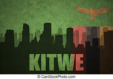 abstract silhouette of the city with text Kitwe at the...