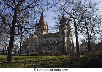 Side view of St.Francis of Assisi church and its park in...