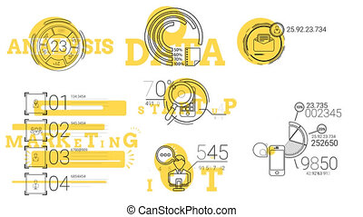 Infographic Elements In The Line Style. Yellow Spot