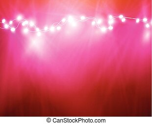 Colourful Glowing Christmas Lights And Greeting Card.