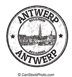 Antwerp sign or stamp - Antwerp grunge rubber stamp on white...