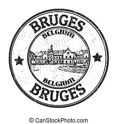 Bruges sign or stamp - Bruges grunge rubber stamp on white...