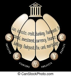 Black info graphic with theme of banking