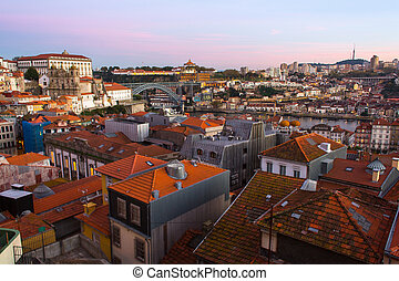 View over the rooftops of the old town of Porto, Portugal.