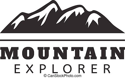 Mountain vector icon badge. Mountain silhouette elements....