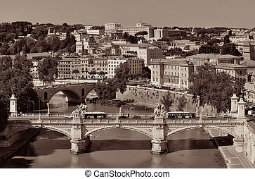 Rome River Tiber - Rome aerial view with ancient...