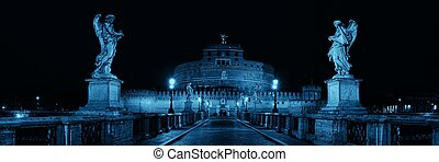 Castel Sant Angelo in Italy Rome at night panorama with...