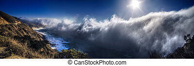 Foggy Big Sur Pacific Coastline in California - Clouds and...