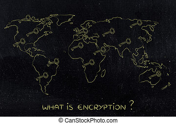world map with keys, concept of encryption & cryptography -...