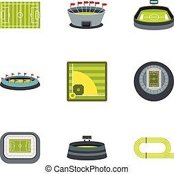 Championship icons set, flat style - Championship icons set....