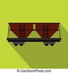 Freight railroad car icon, flat style - Freight railroad car...