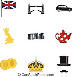 Tourism in United Kingdom icons set, flat style
