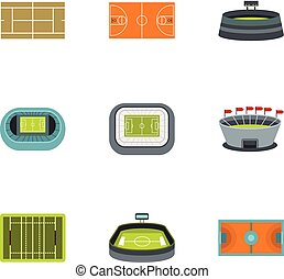 Game at stadium icons set, flat style - Game at stadium...