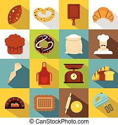 Bakery icons set, flat style - Bakery icons set. Flat...