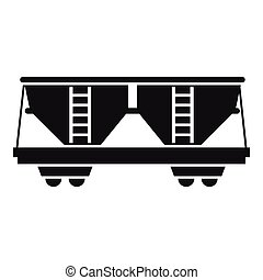 Freight railroad car icon, simple style - Freight railroad...