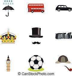 United Kingdom icons set, flat style - United Kingdom icons...