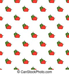 Red and green sweet pepper pattern, cartoon style - Red and...