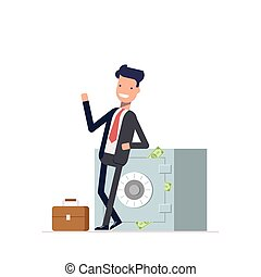 Businessman or manager standing near the closed safe from which stick out money. Man in a business suit waving. Vector, illustration EPS10.