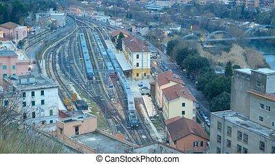Departure train station, Tivoli. Italy. UltraHD (4K)