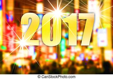 Happy New year 2017 - Defocused nightlife street scene,...