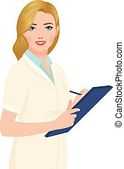 Stock vector illustration of a blonde woman portrait of a...