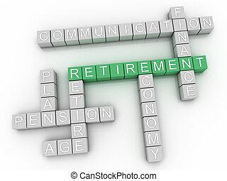 3d image Retirement word cloud concept