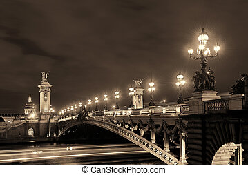 Seine - Paris River Seine and Alexandre III Bridge in...