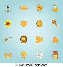 Honey icons set, cartoon style - Honey icons set. Cartoon...