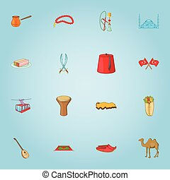 Turkey icons set, cartoon style - Turkey icons set. Cartoon...
