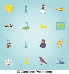 United Arab Emirates icons set, cartoon style