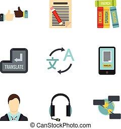 Foreign language icons set, flat style - Foreign language...