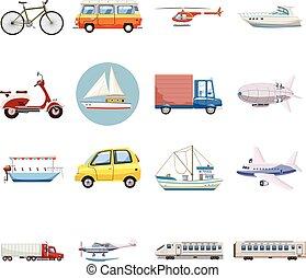 Transportation icons set, cartoon style - Transportation...