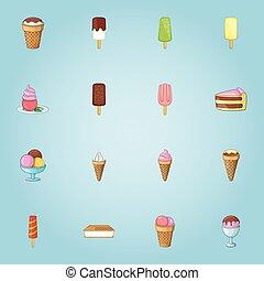 Ice cream icons set, cartoon style - Ice cream icons set....