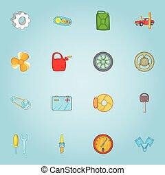 Repair machine icons set, cartoon style - Repair machine...