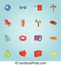 Tourism icons set, cartoon style