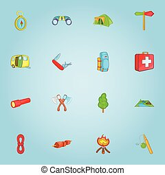 Camping icons set, cartoon style - Camping icons set....