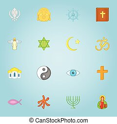Religious icons set, cartoon style