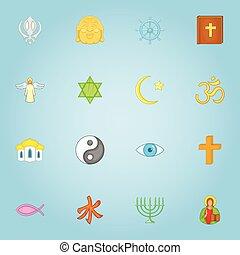 Religious icons set, cartoon style