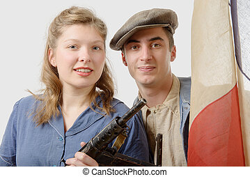 young couple of french resistant to the liberation in 1944 -...