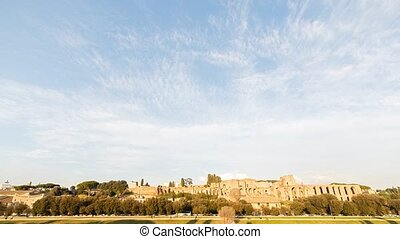 Ruins of Palatine hill palace in Rome, Italy. SunSet. Time...
