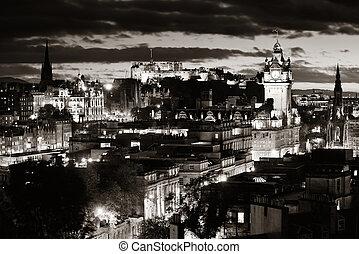 Edinburgh night - Edinburgh city view at night in UK.