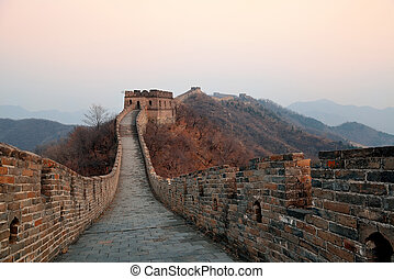 Great Wall morning - Great Wall closeup in the morning with...