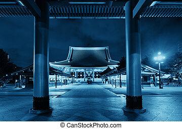 Tokyo temple - Sensoji Temple in Tokyo Japan at night.